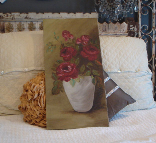 Vintage Oil Painting on Canvas Red Roses in Vase Beautiful-