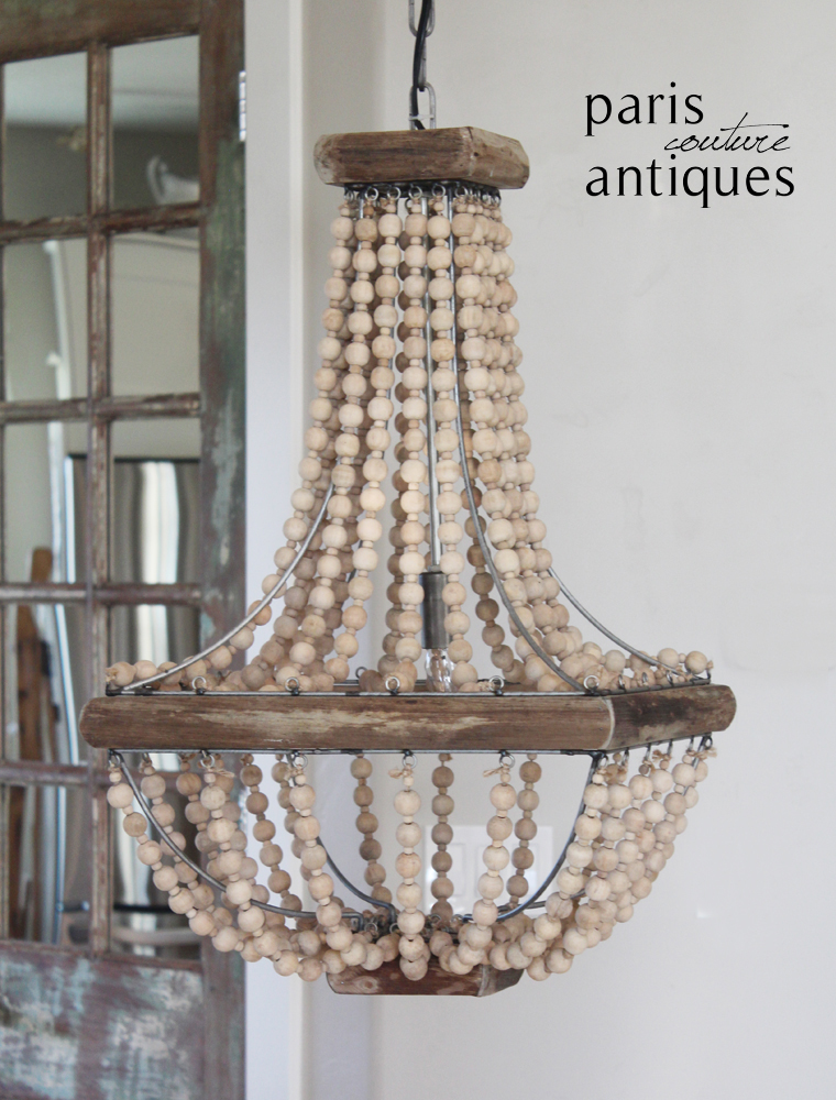 Reproduction Wood Beads French Farmhouse Chandelier