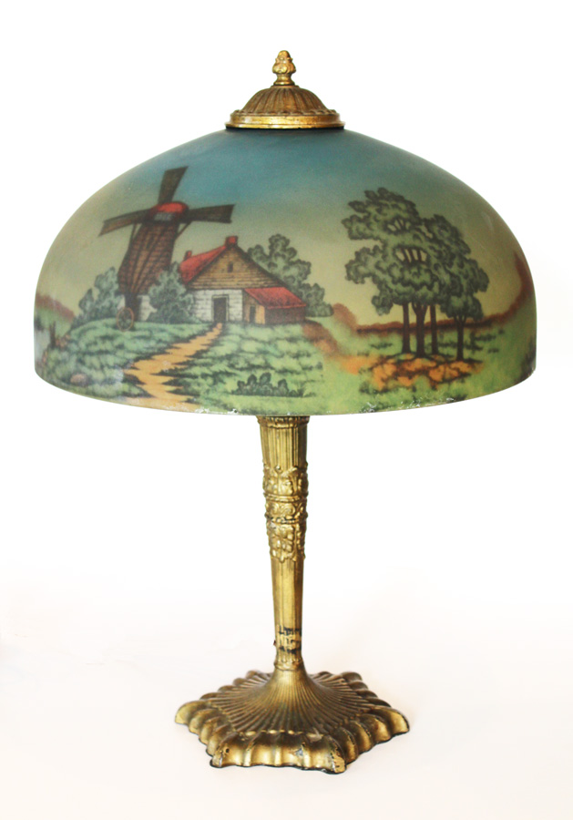 1800s Beautiful Reverse Painted Lamp Scenic