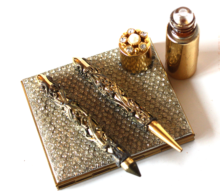 Vintage Rhinestone Compact, Pen & Stylus, & Jeweled Perfume Bottle-