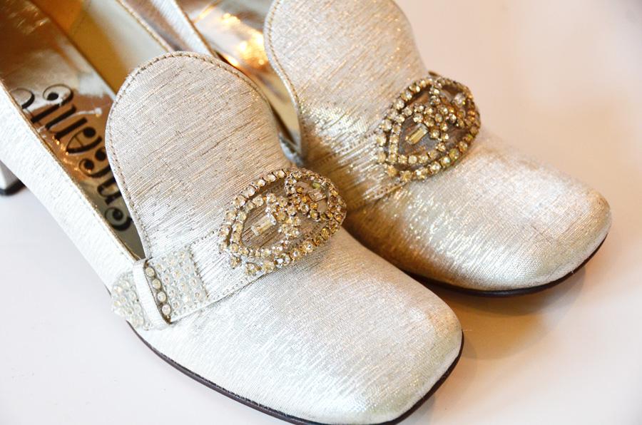 Pair Vintage Silver High Heels w/Rhinestone Shoe Clips-