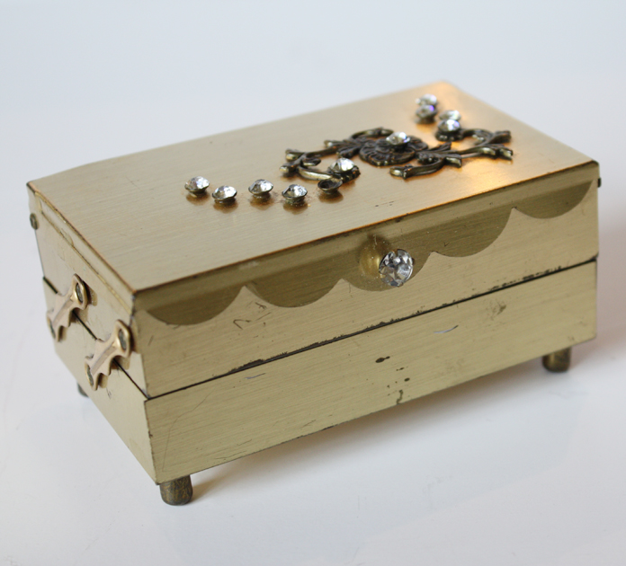 Small Rhinestone Encrusted Boudoir Jewel Box