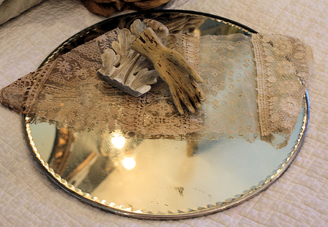 Xlrg Antique Ribbon Scallop Bevel Plateau Mirror Early 1900s