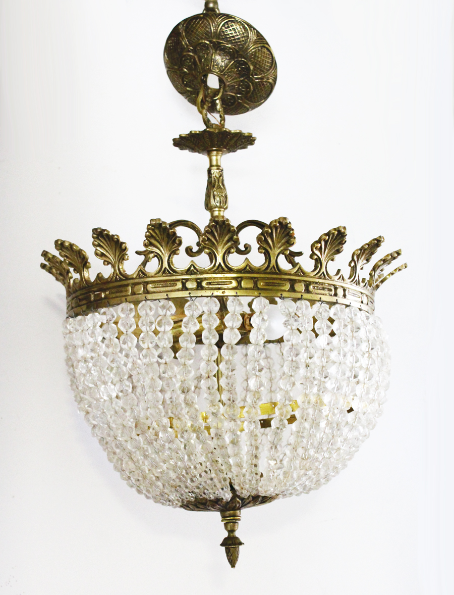 French Empire Antique Rock Crystal Beaded Basket Chandelier