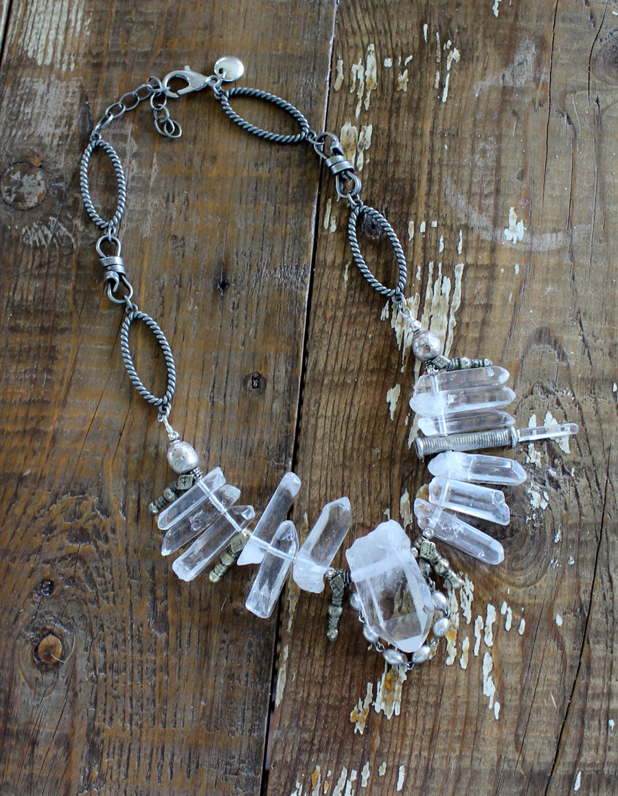 Rock Quartz Crystal One of A Kind Necklace-Rock it Gypsy-Rock Crystal, Quartz, Necklace, OOAK