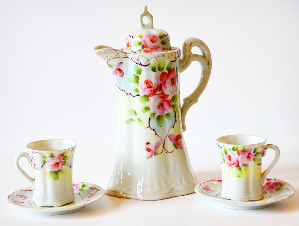 Antique Porcelain HandPainted Chocolate Pot & Tea Cups Roses-
