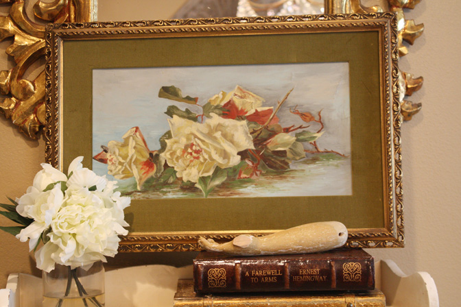 Antique Victorian Lying Roses Sunday Painting 1900s