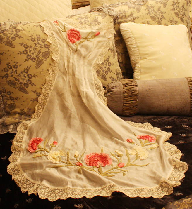 French Silk 19th C. Boudior Apron Incredible Ribbon Roses