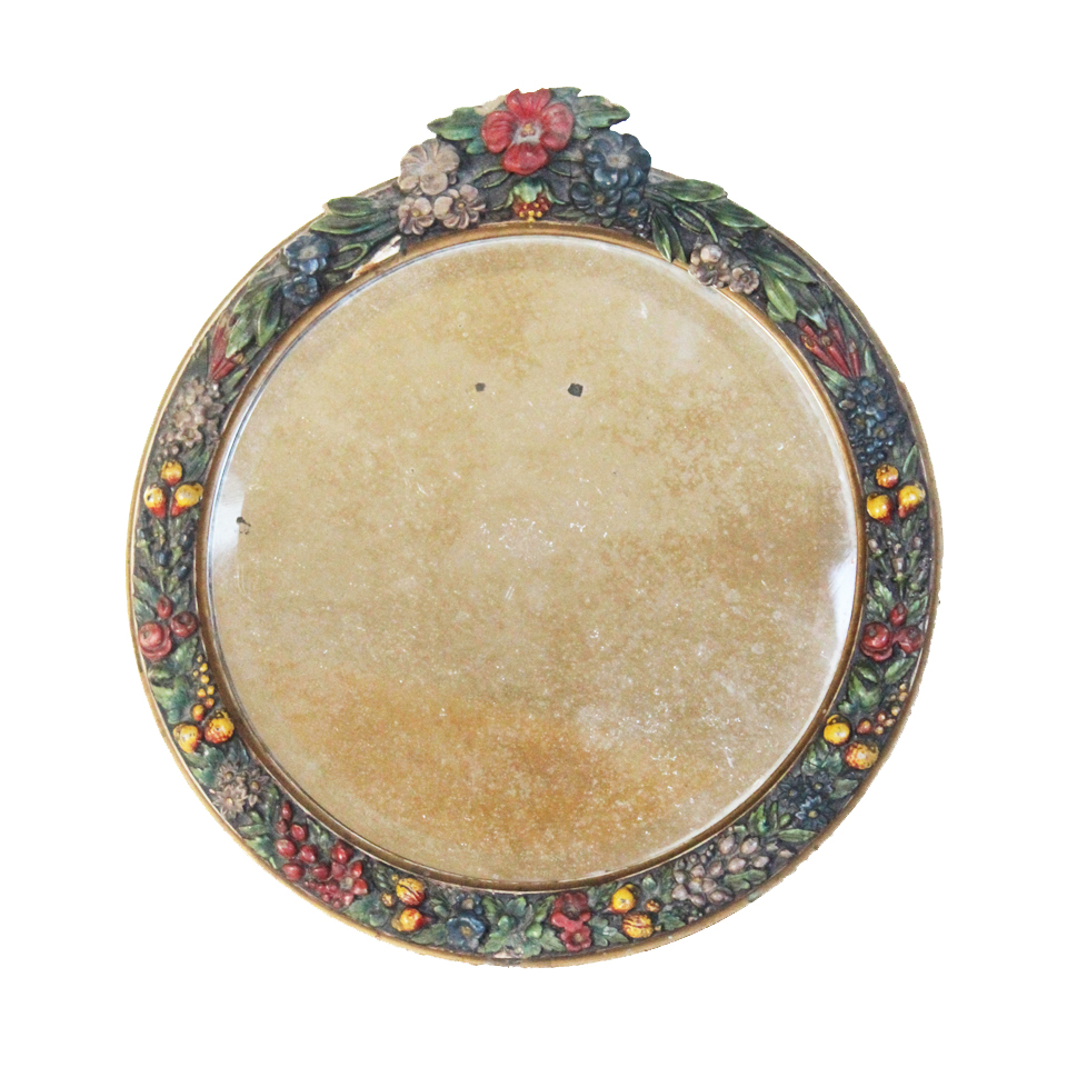 Antique English Barbola Round Beveled Mirror