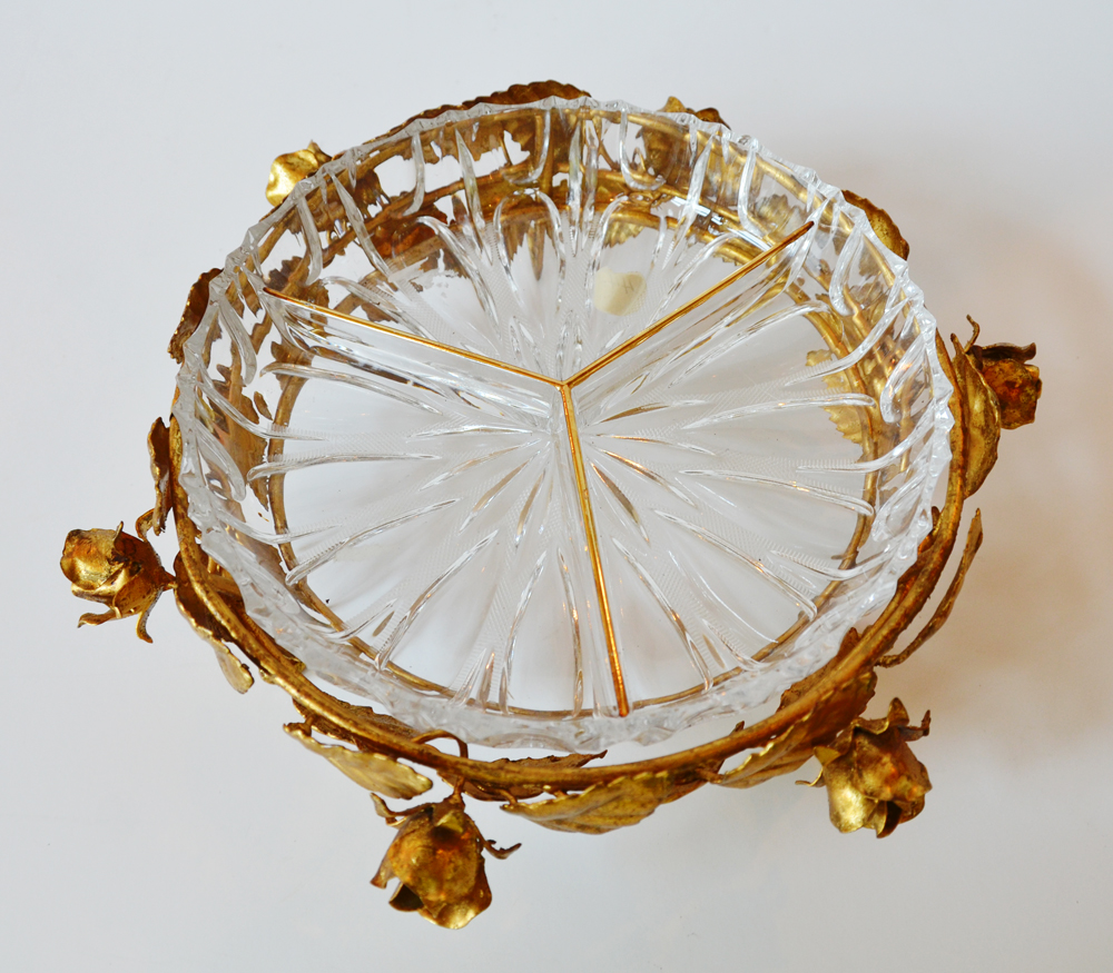 Antique Italian Tole Gilt Rose Serving Dish Cut Crystal