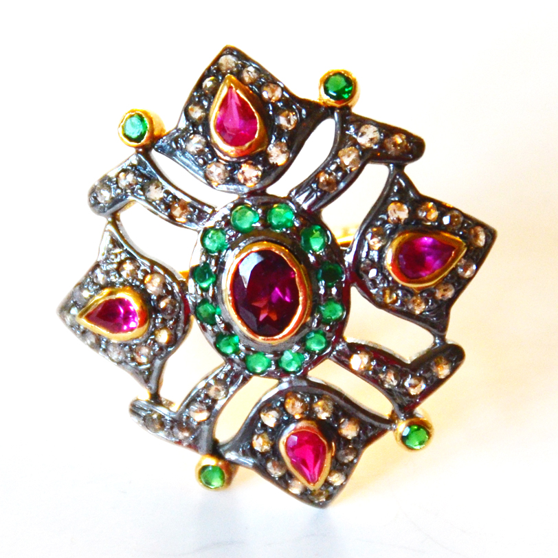 1.12 Carat Diamond, Ruby & Emerald Ring