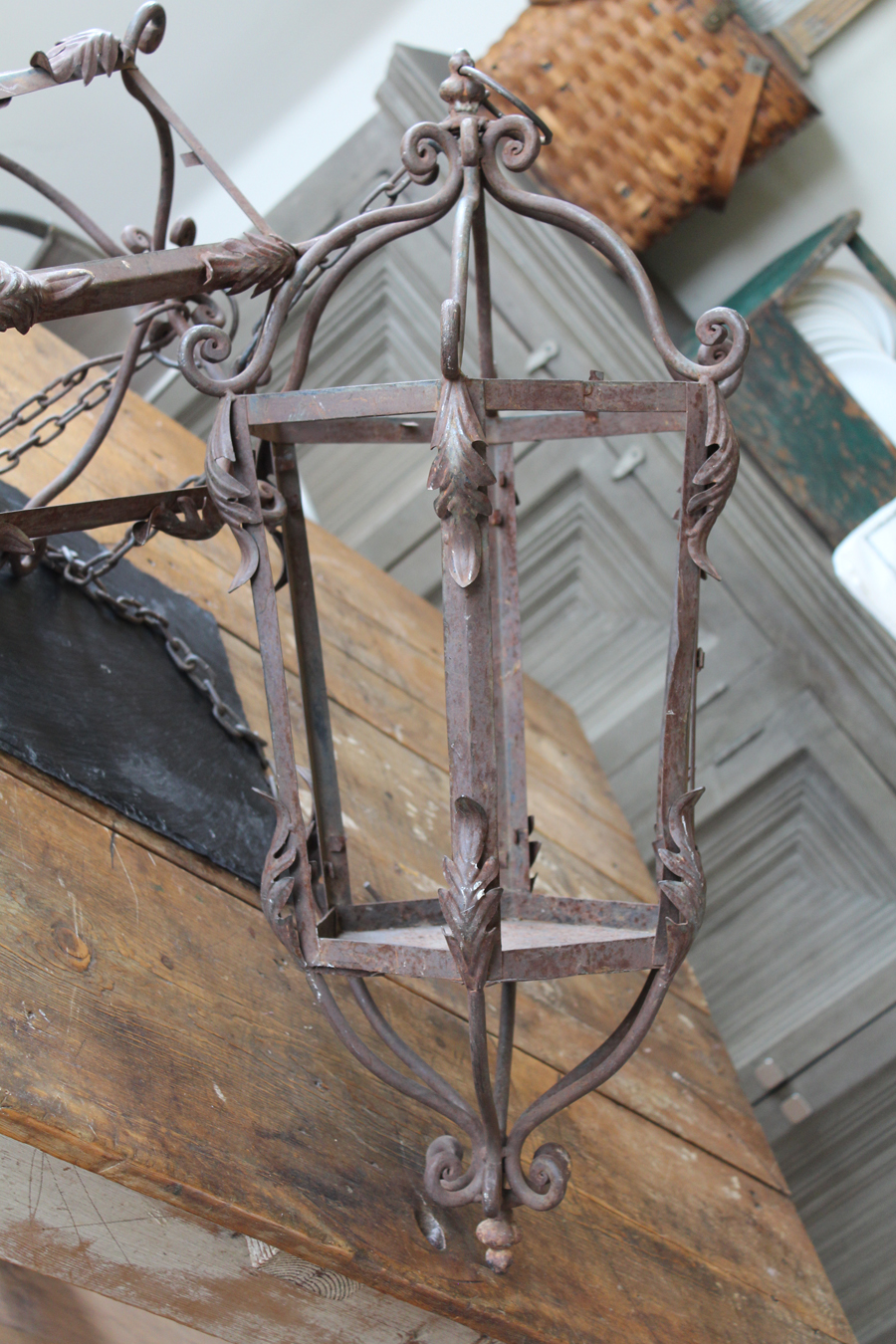 Pair Wrought Iron Hanging Lanterns 1800s French