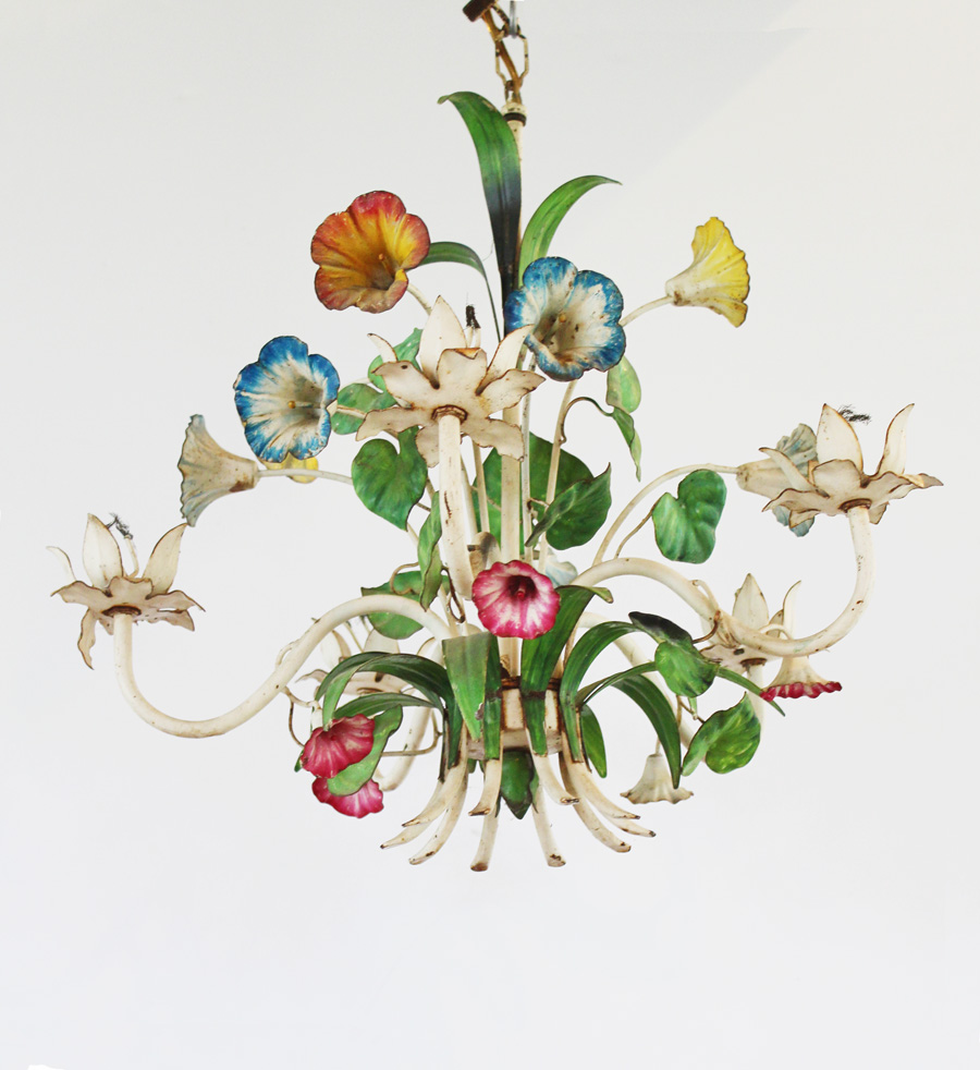 Rusty Crusty Vintage Italian Tole Floral Chandelier-French, Lighting, Vintage, Wall Sconce, Crystal, Gilt, Farmhouse, Farm, House, Décor, Italian, Tole, Floral, Flower, Chandelier