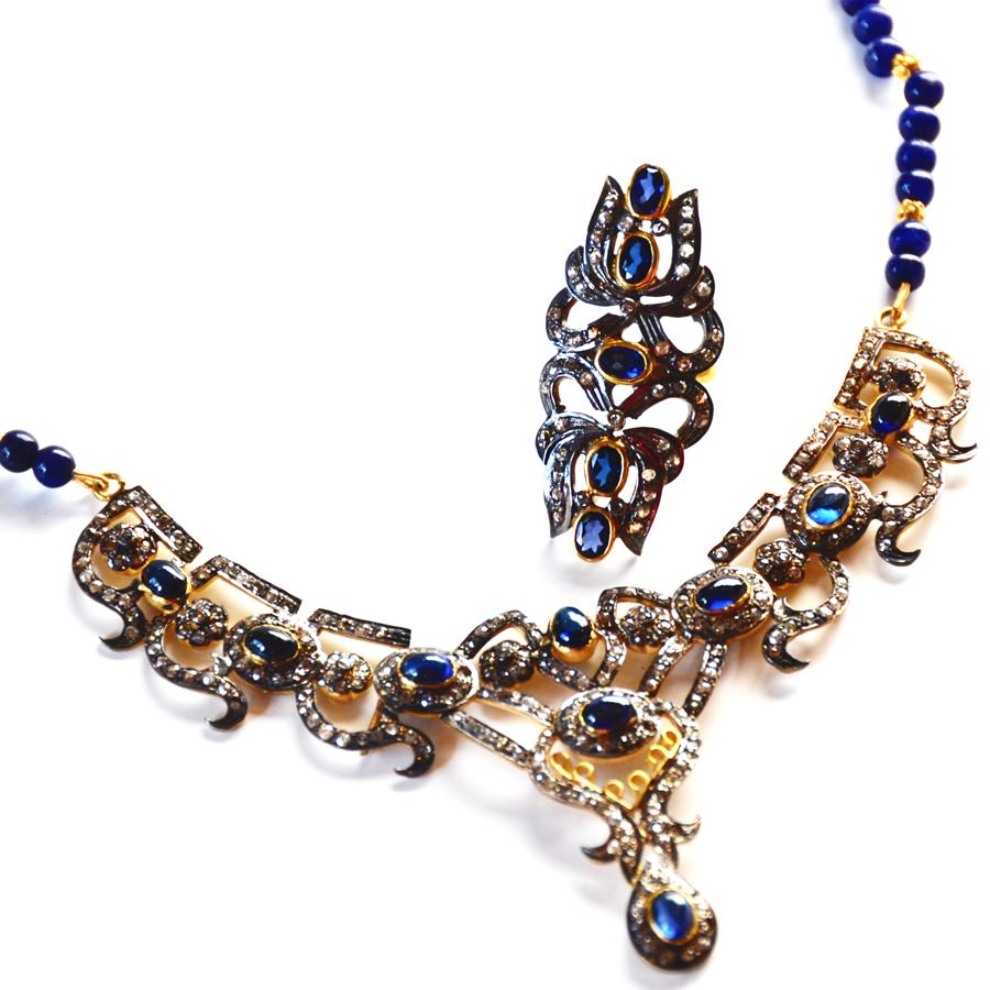 Rare 8.77 Ct Diamond & Sapphire Cabochon Necklace