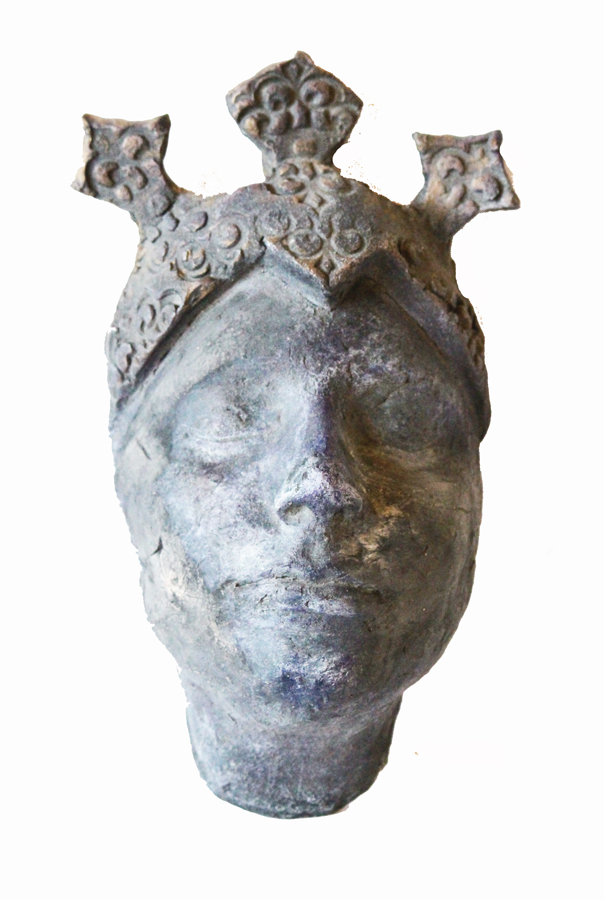Beautiful Artist Made Sculpture Face with Crown-