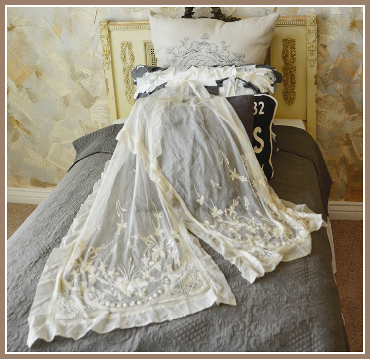 Seed Pearl French Silk Lace Runner Breathtaking-