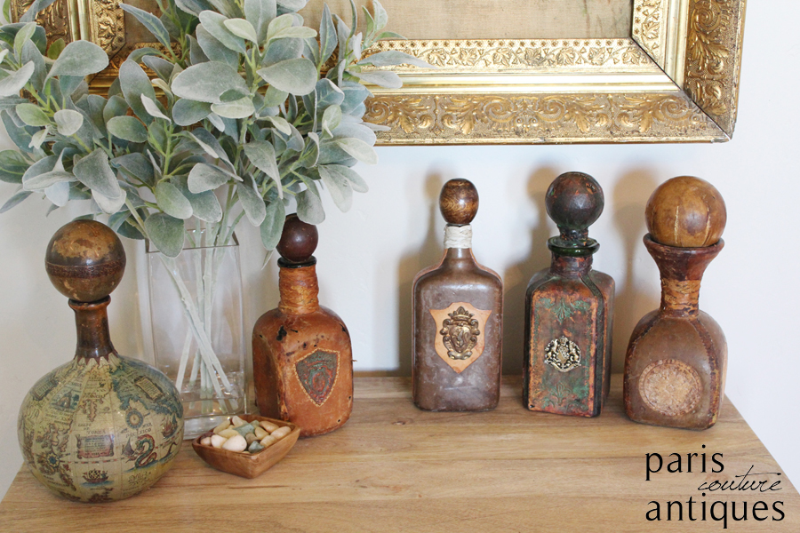 Set of Five Antique Leather Italian Bottles Gorgeous Patina & Details