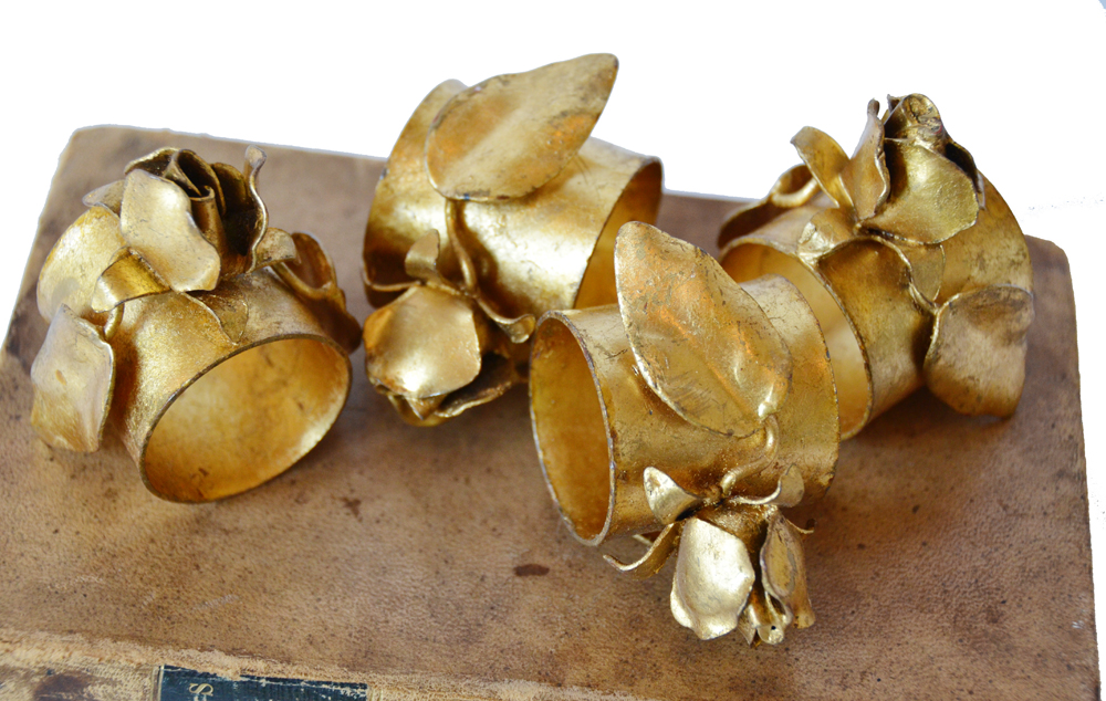 Set of Four Antique Italian Tole Gilt Rose Napkin Rings-