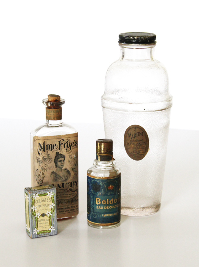 Set of Four Antique Toiletries Bottles & Box