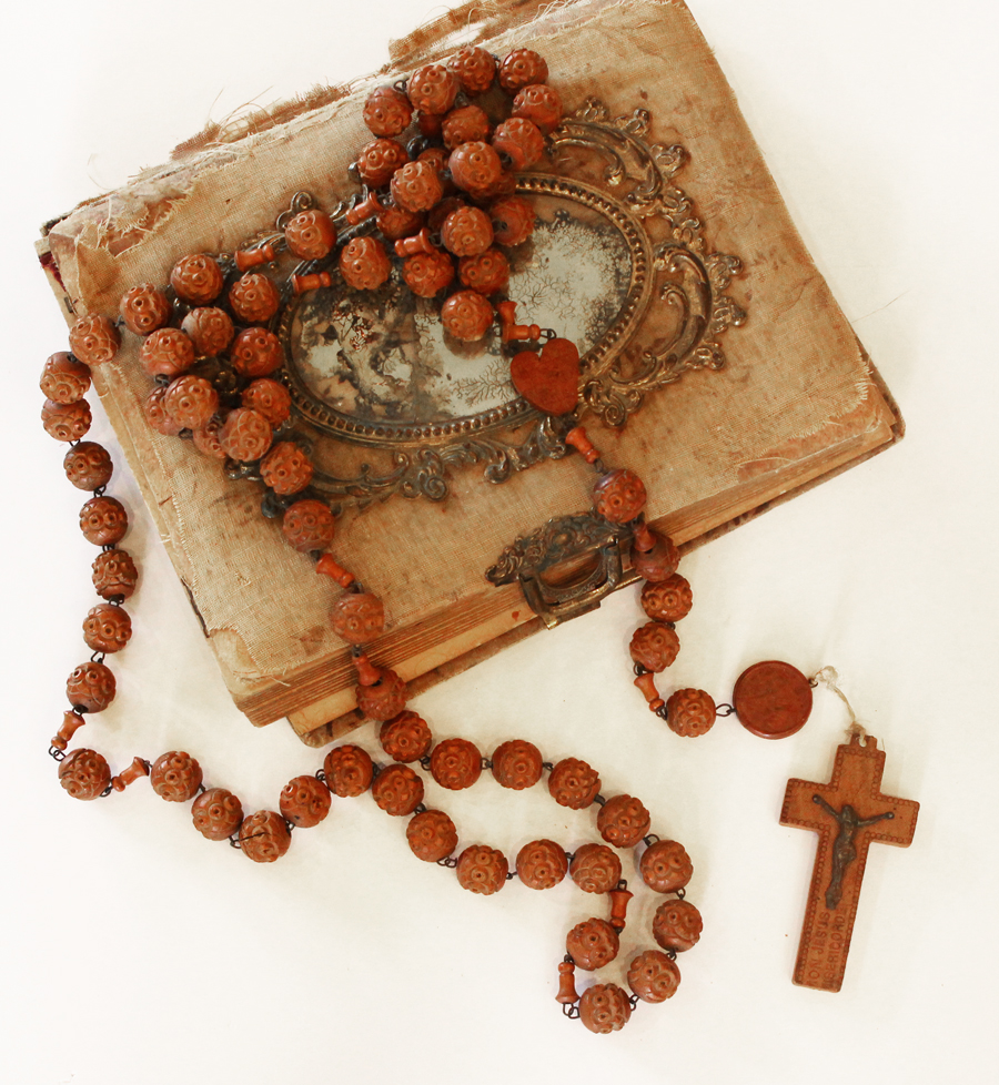 Incredible 1920s Wood French Nuns Beads Rare Lourdes France