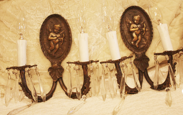 Antique Pair French Electric Wall Sconces Cherubs & Prisms-