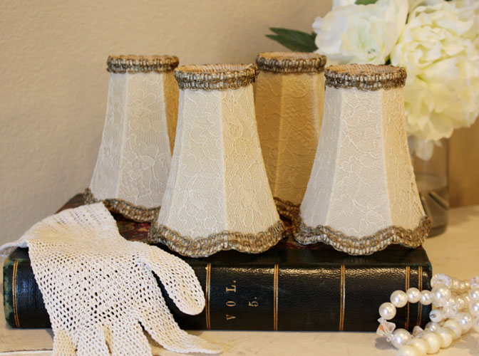 French Net Lace Set of Four Antique Lamp Shades-