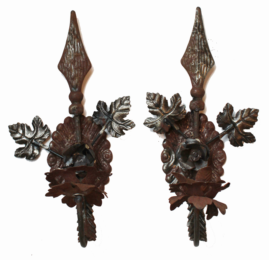 Pair Antique French Tole Wall Sconces-