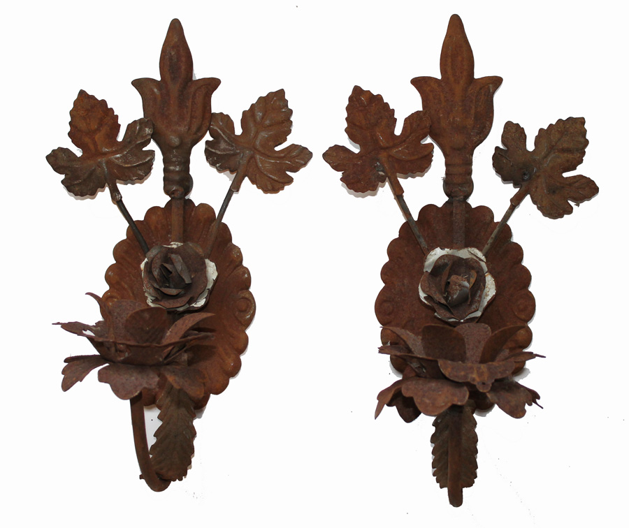 Antique French Tole Pair Wall Sconces-
