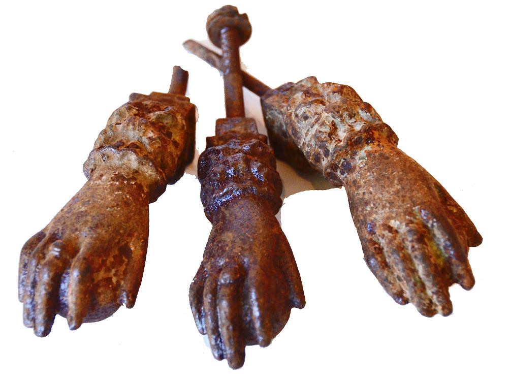 Set of Three Antique French Door Knocker Hands Incredible-