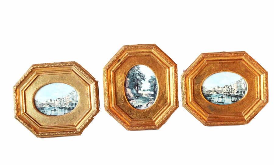 Set of Three Italian Floretine Wood Framed Pictures