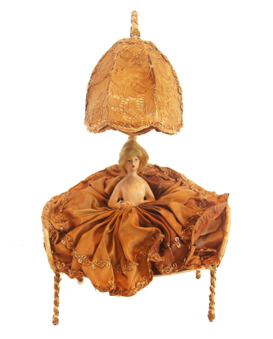 French Antique Boudoir Half Doll/Settee Lamp
