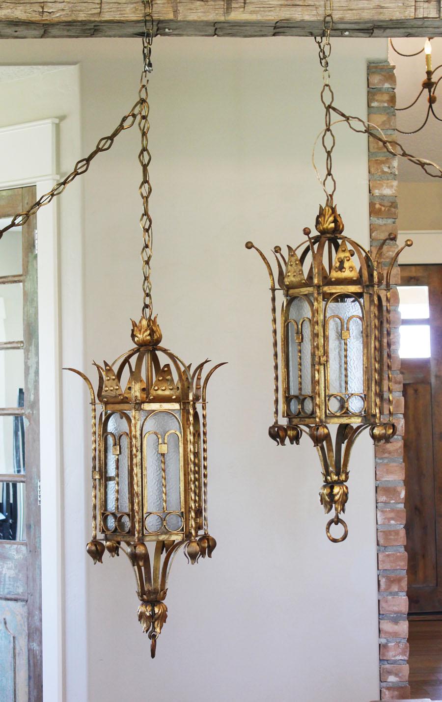 Antique Italian Huge Gilt Lantern Hanging Light Gorgeous Gothic Style