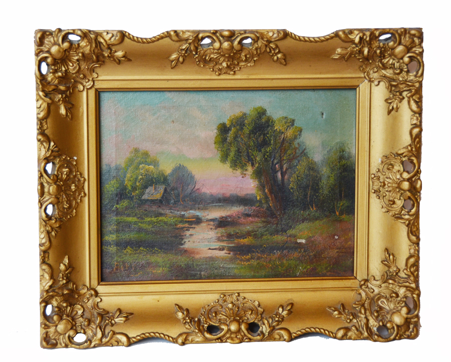 Victorian Signed Oil on Canvas Landscape Original Gilt Wood Frame