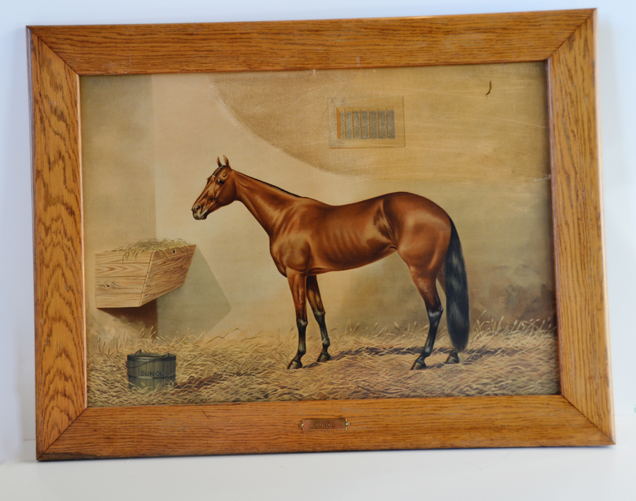 Antique Incredible Illustration Oil Painting Horse-