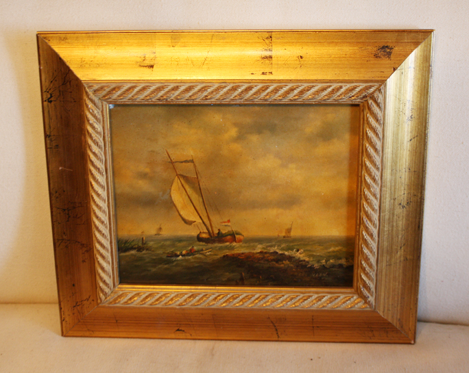 Late 19th C Oil Seascape Sailboat Painting-