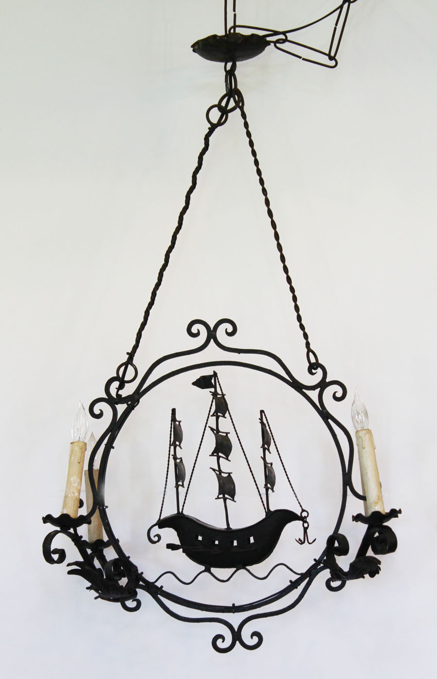 Antique HandMade Wrought Iron Ship Chandelier from Genoa