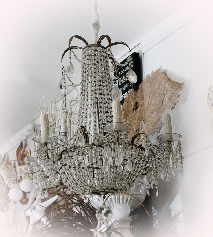 Antique Silver Gilt Italian Tole Beaded Chandelier Incredible-