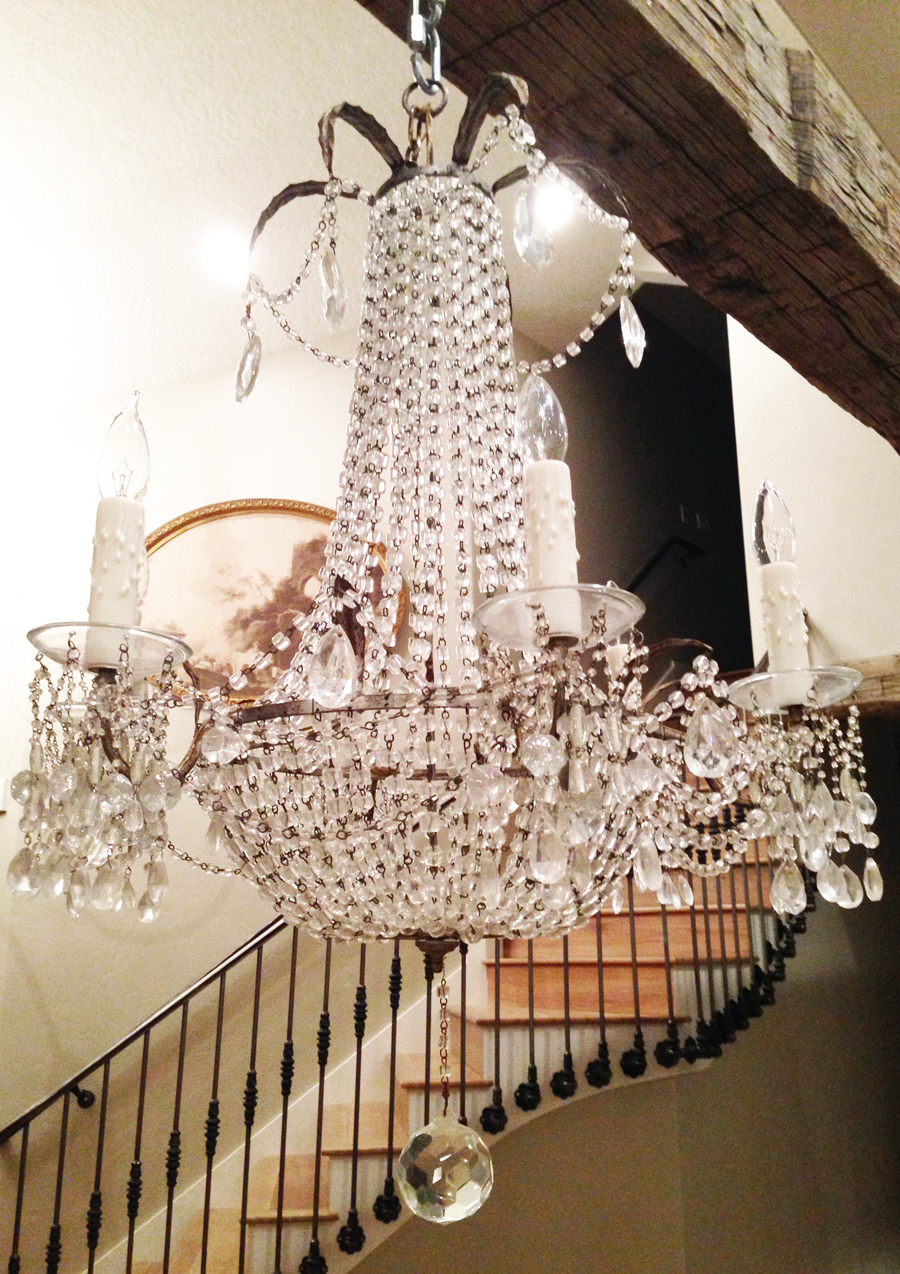 Incredible Antique Macaroni Beaded Xlrg Silver Gilt Empire Chandelier