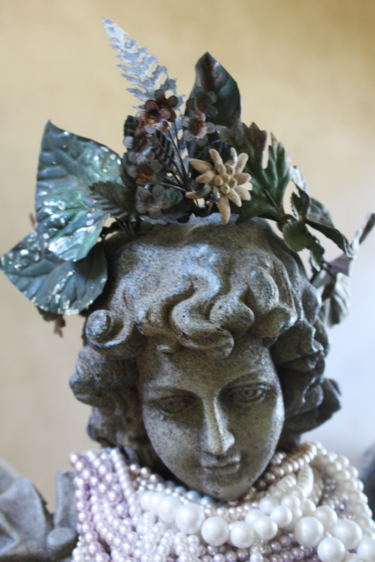 One of a Kind Antique French Tole Flowers Crown-
