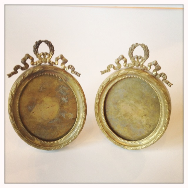 Pair French Flea Market Antique Oval Frames-