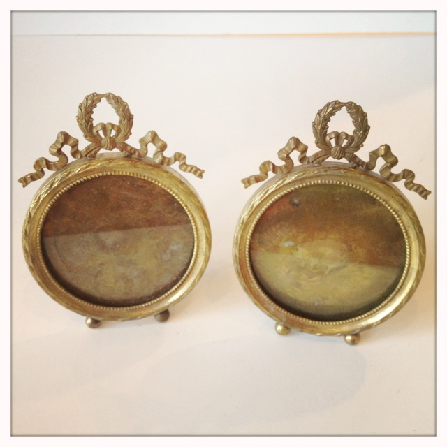 Pair Large Table Top Brass Picture Frames From Paris Flea Market-
