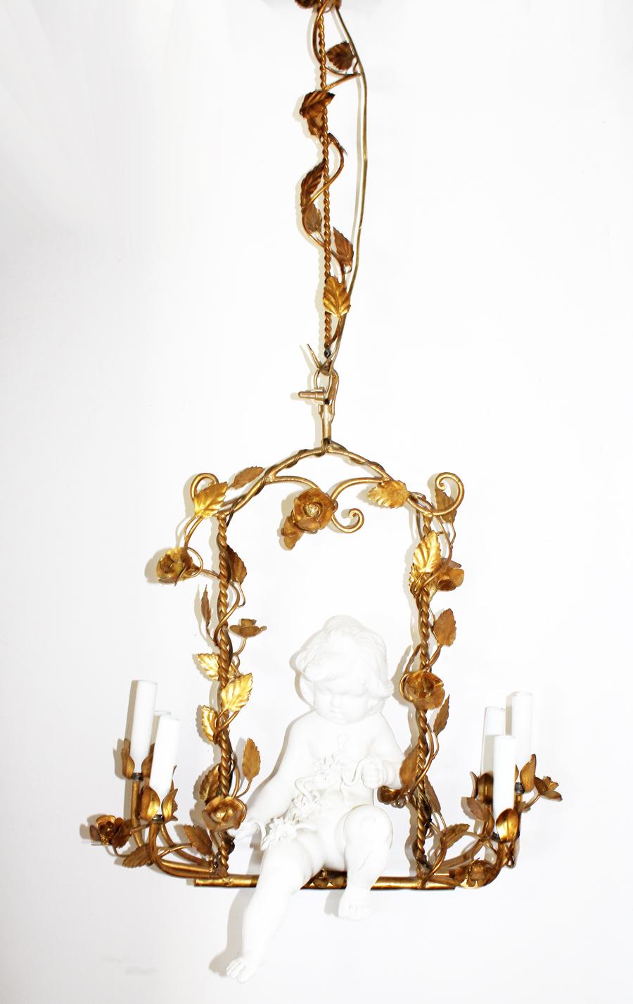 Rare Italian Gilt & Porcelain Cherub Chandelier
