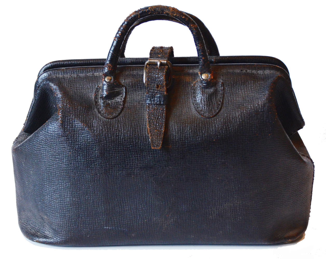 Antique Leather Calkskin Dr Bag Wonderful Small Size-