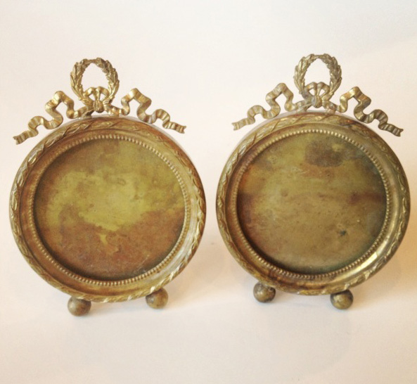 Pair French Flea Market Antique Round Frames-