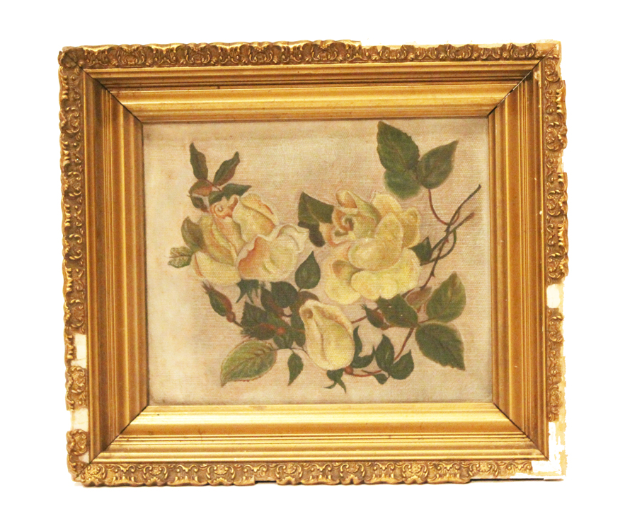 Antique Framed Yellow Rose Oil Painting