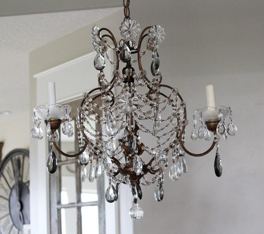 Antique Pair Italian Beaded Smoke Grey Crystal Chandelier