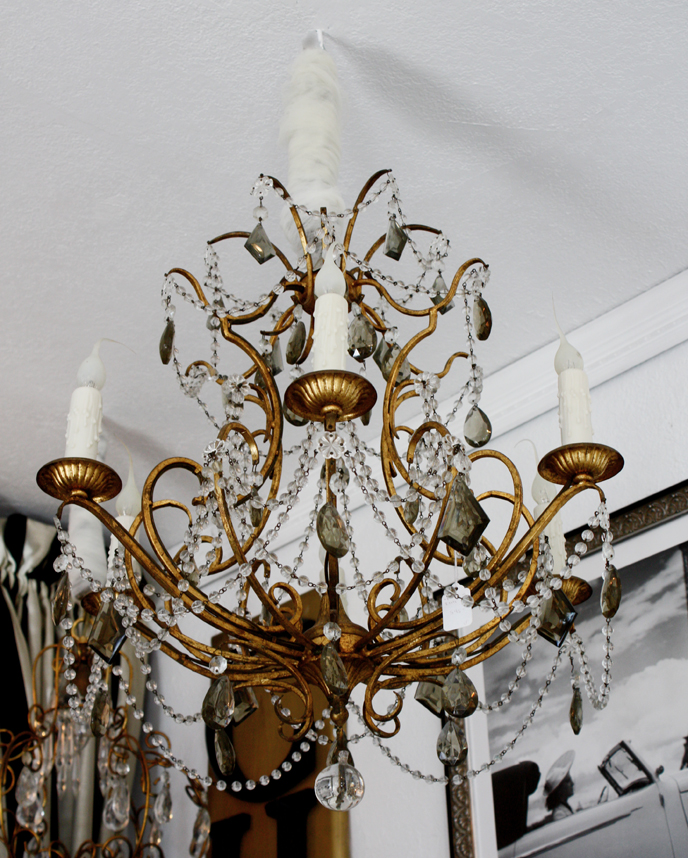 Antique Italian Tole Beaded Chandelier Silver & Clear Drops-