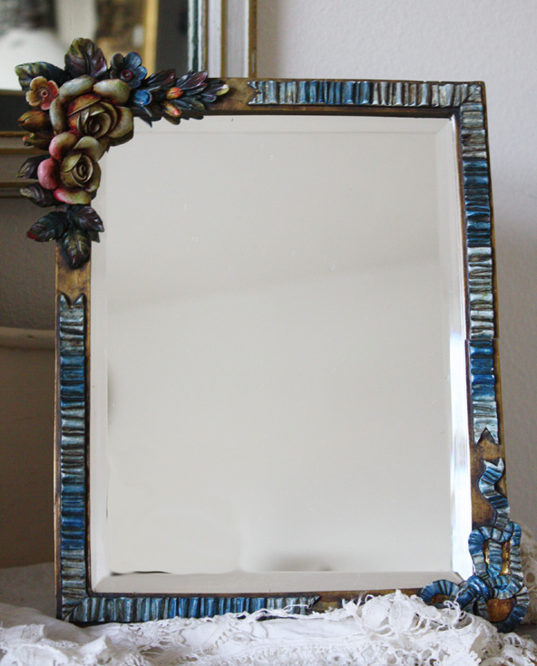 Breathtaking 1900s English Barbola Table Beveled Mirror-
