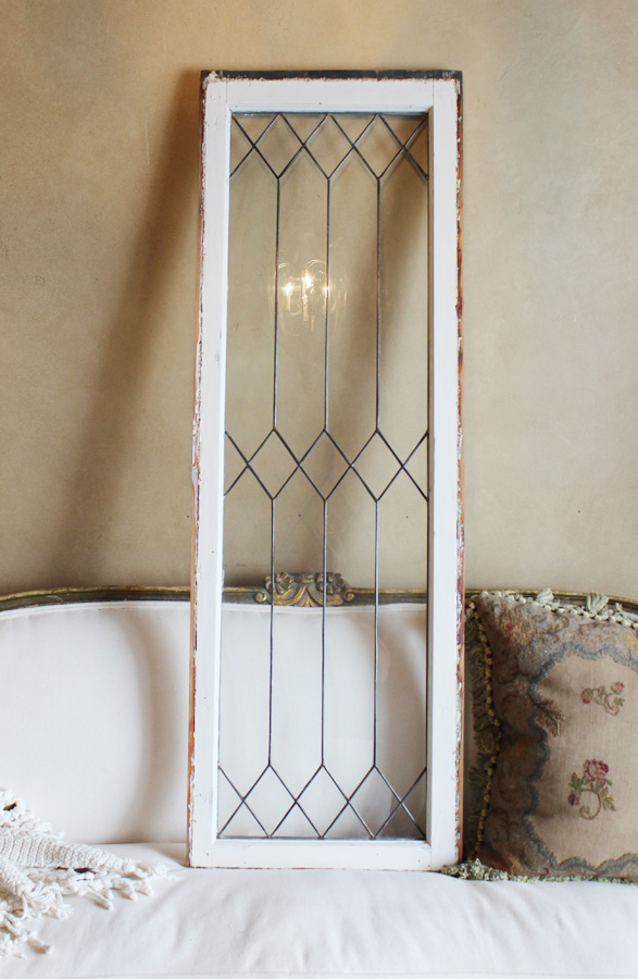 Antique French Leaded Glass Transom Window