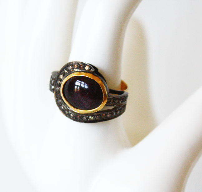 Estate Large Star Ruby w/Diamonds Ring Art Nouveau Setting-